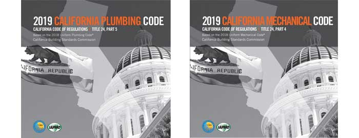 2019 California Plumbing Code, California Mechanical Code Now Available