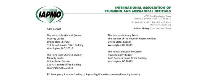 IAPMO Implores Congressional Leaders to Support Associations and Professional Trade Organizations in Future COVID-19 Relief Legislation